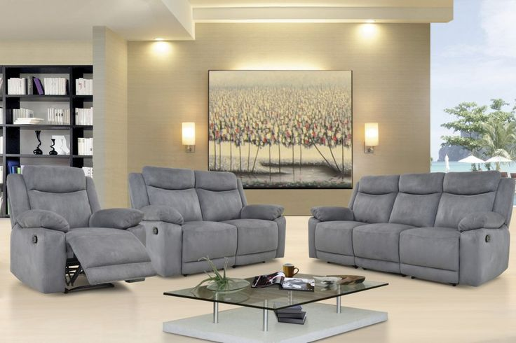 Volo Grey Reclining Sofa, Loveseat, and Chair Set by Levoluxe at GoWFB.ca | FREE Shipping - Volo Grey Reclining Sofa, Loveseat, and Chair Set by Levoluxe