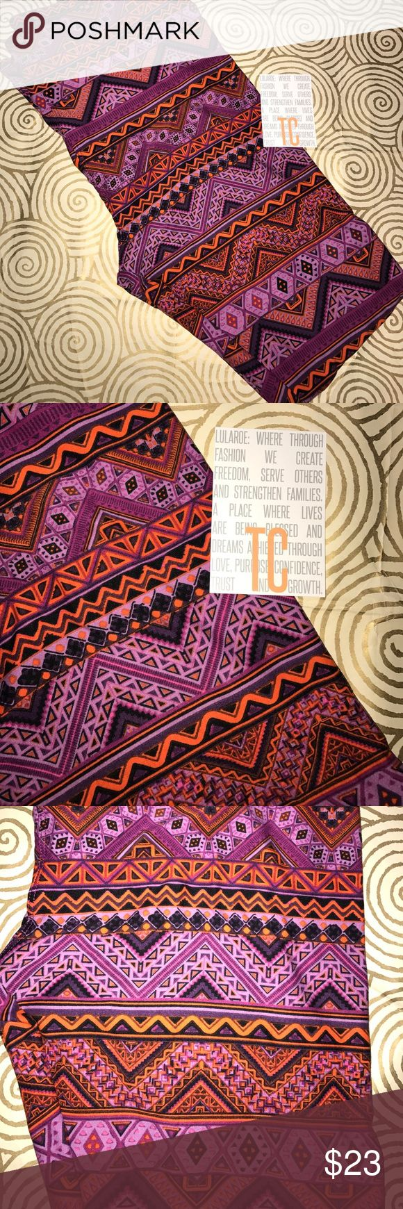 BNWT lularoe leggings TC pink purple orange Aztec BNWT lularoe leggings TC pink purple orange Aztec horizontal pattern . Some black. Fits 12-22/24, Choose size 1X below, but know these are TC (tall and curvy) and fit sizes 12-22/24. Ask with questions! LuLaRoe Pants Leggings