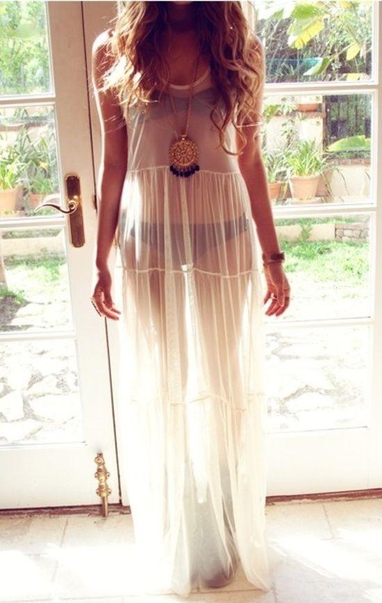 Sheer boho slip dress.  women's fashion.  lingerie.