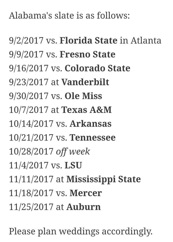 Alabama 2017 schedule