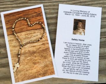 Customized Funeral Memorial Prayer Card by FuneralPrints on Etsy