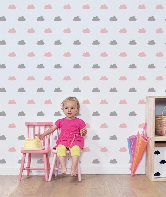 Papier peint enfant nuage rose et gris papier peint chambre fille papier peint enfant - Papier peint chambre bebe fille ...
