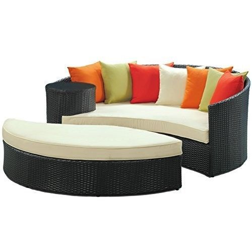 Nice Outdoor Wicker Sofa Ottoman Set Round Lounger Patio Daybed Backyard Deck  Couch