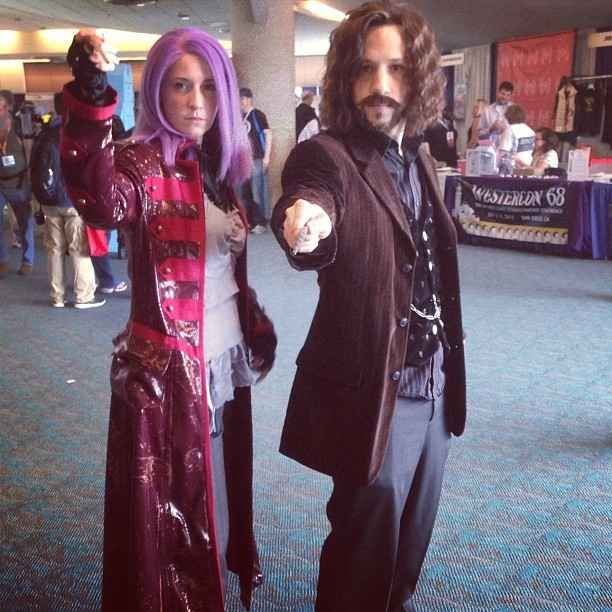 Tonks and Sirius taught us Defense Against The Cosplay Arts. - haha this is my husband and I at Comic Con 2013! Most pieces constructed and wigs and facial hair cut and styled by myself.