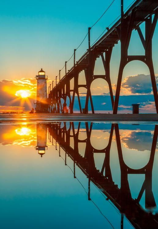 Pier head lighthouse, South Haven, Michigan, USA.  Come and visit us at http://BurnTheBridgeMarketing.Net