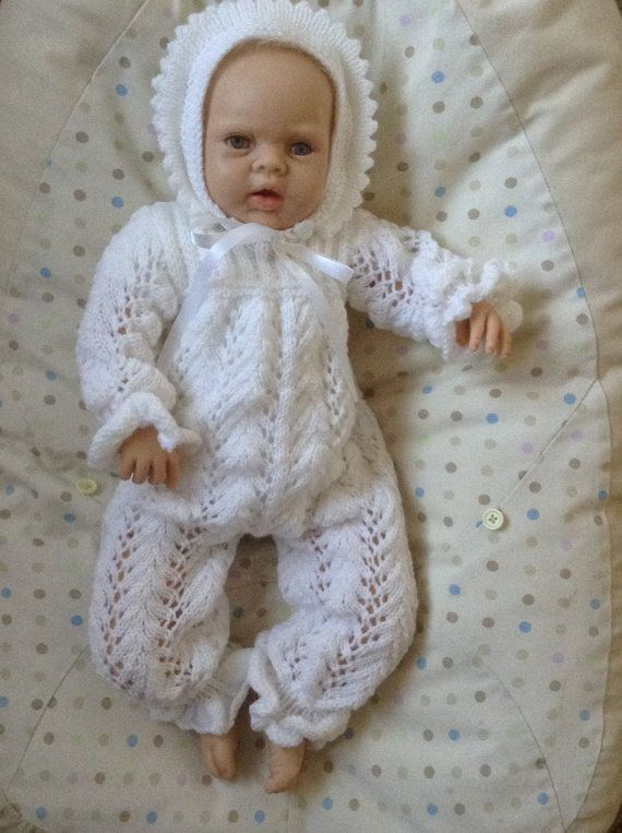 0-3 Month Baby Romper and Bonnet Outfit in by Meganknits4charity