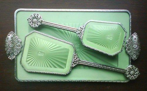 Vintage green guilloche vanity set… stunning!
