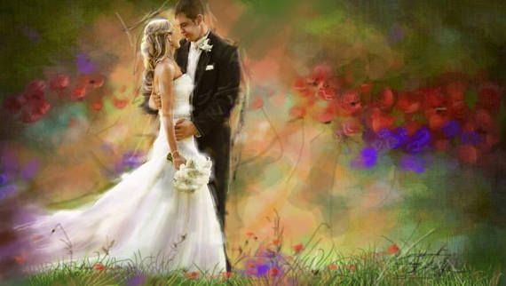 Wedding Portrait-Custom Portrait painting art from photo