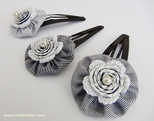 Nespresso Coffee capsules and crochet - Rosette Hair Clip