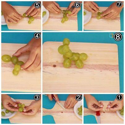 Cara Membuat Garnish Dari Buah Anggur (Bentuk Binatang)