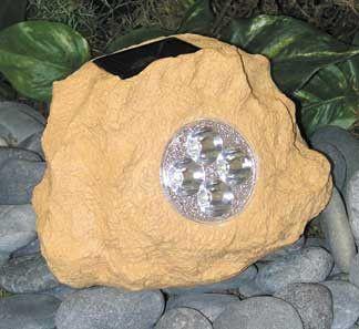 HomeBrite Solar Rock Spot Light - Large Size Sandstone Color - Set of 3