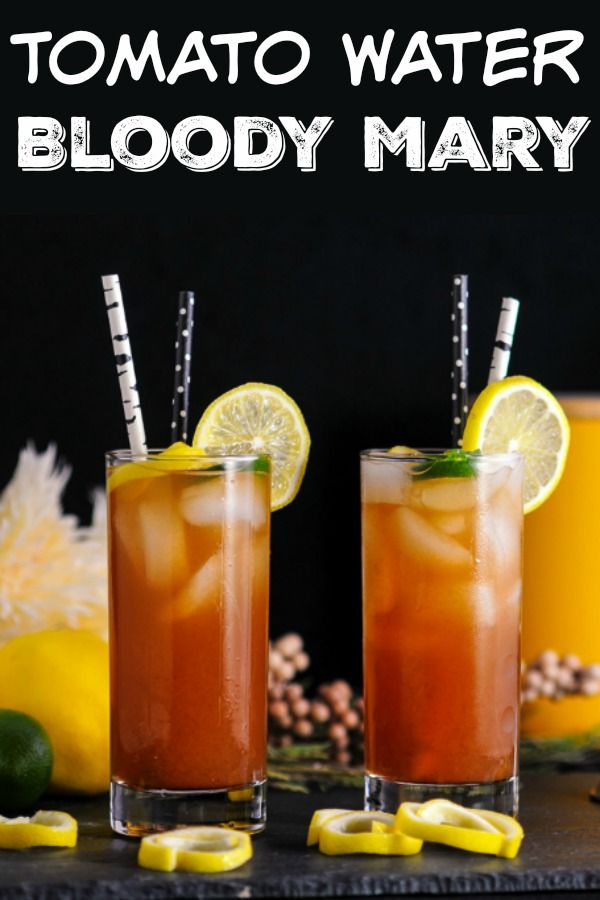 Tomato Water Bloody Mary cocktail - vodka, tomato juice, lemon and lime juice, hot sauce #Cocktail #vodka #lime #lemons #brunch