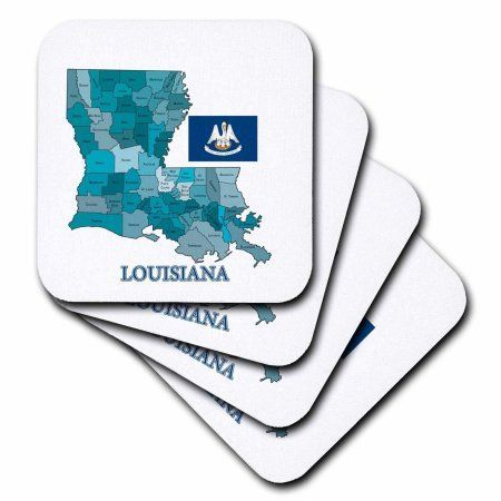3dRose Flag and map of Louisiana with each parish labeled and colored, Ceramic Tile Coasters, set of 4