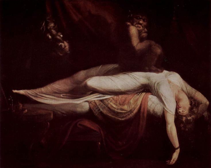 Autore:Johann Heinrich Füssli Nome dell'opera: L'Incubo Data: 1781 Tecnica: olio su tela Collocazione attuale: Detroit Institute of Arts