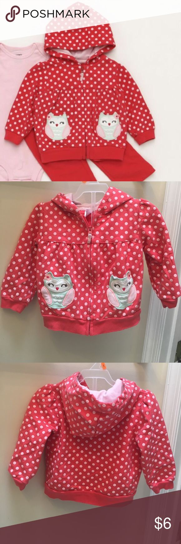 Carter's Owl Polka Dot Zip Up Hoodie Carter's Owl Polka Dot Zip Up Hoodie. In Good Used condition Carter's Shirts & Tops Sweatshirts & Hoodies