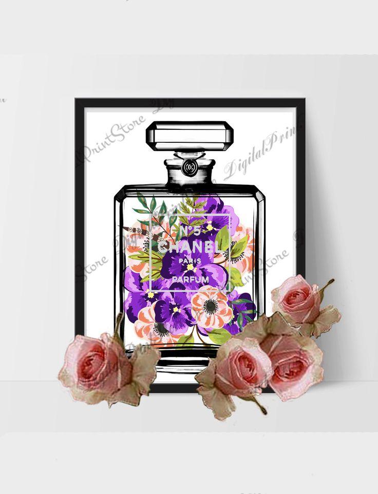 Chanel Flower 02 24x30 Coco Chanel Nr. 5 Modern Art, Chanel Perfume, Nursery, Fashion Print by DigitalPrintStore on #Etsy #gift #cocochanel #chanel