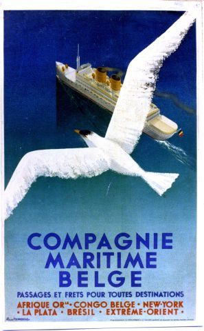 Pierre Fix-Masseau - Compagnie Maritime Belge - 1936 vintage poster