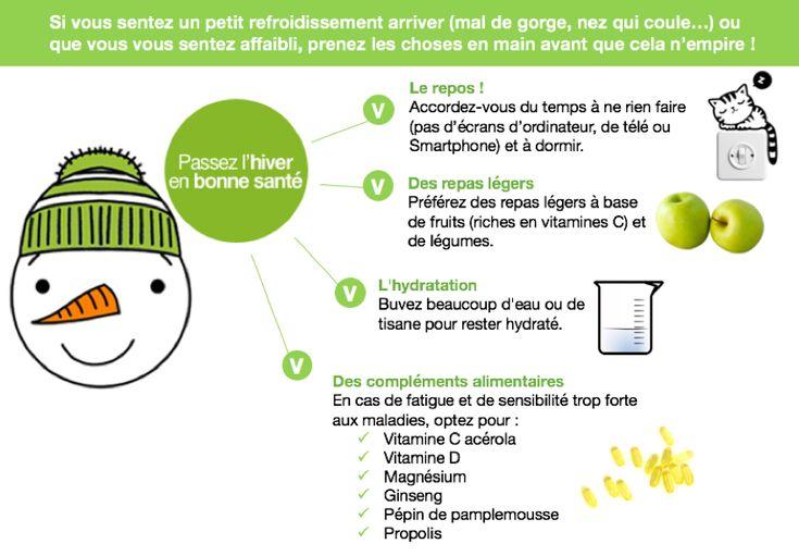 Des remèdes naturels pour passer l'hiver en bonne santé :  - le repos - des repas légers - l'eau et les tisanes - les compléments alimentaires