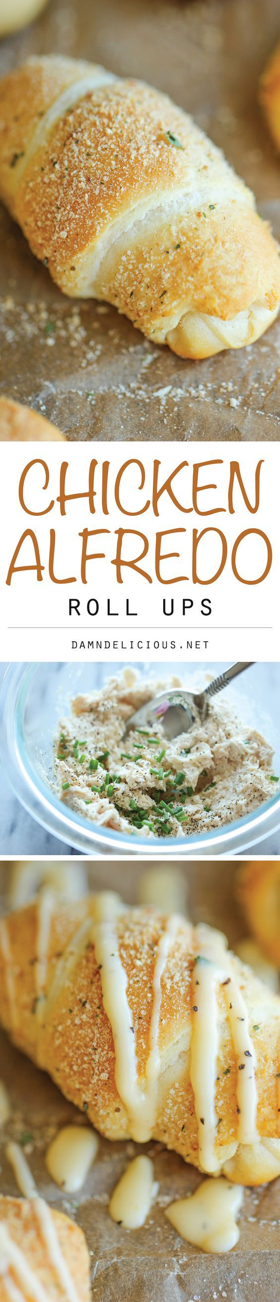 Chicken Alfredo Roll Ups - The easiest, no-fuss chicken alfredo you will ever make, conveniently stuffed in the butteriest roll ever!: