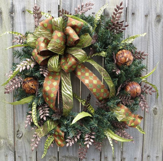 Unique Wreath Holiday Wreaths Brown and Green by HornsHandmade, $71.00