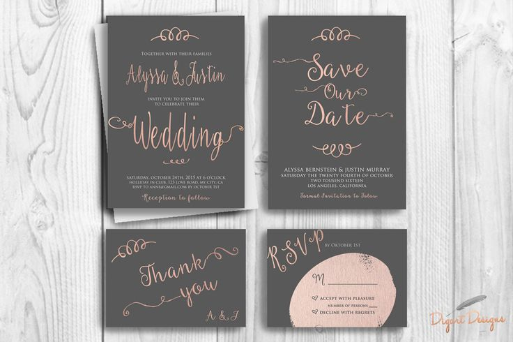 REPIN NOW for later! Faux Rose Gold Foil Wedding Invitation Printable Typography Wedding Invitation Suit Modern Wedding Invite Set Grey Pink Wedding Invitations by DigartDesigns on Etsy