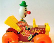 Vintage 1970s Kitsch Fisher Price Pull Along Toy Jalopy Circus Clown Car 724