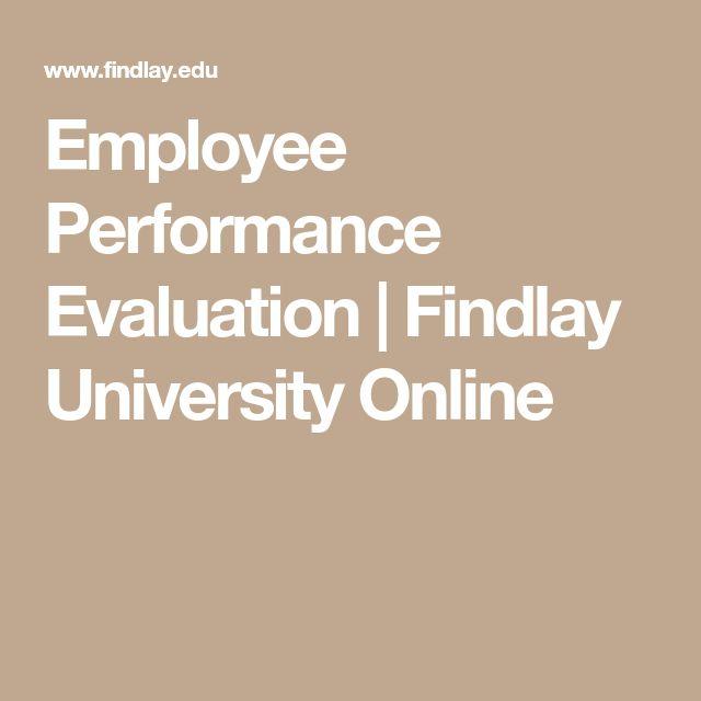 Employee Performance Evaluation   Findlay University Online