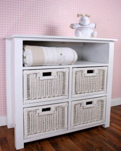 Four basket / open shelf chest – Doubles as a compactum – 1000mmx500mmx900mm high  Made from clear A-Grade pine, each piece has been expertly crafted and features fine groove detailing with elegant trims. This range is finished in a fresh shade of Soft White.