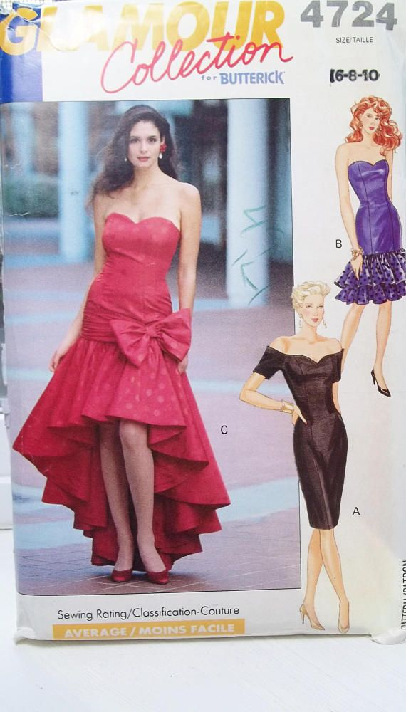 Misses Formal Gown Or Prom Dress Rare Butterick 4724 Glamour Sewing