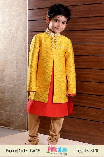 Kids Boys Ethnic Indian Sherwani Set | Kids Red Wedding Kurta with Churidar Pajama | Indian Traditional Outfit for Boys