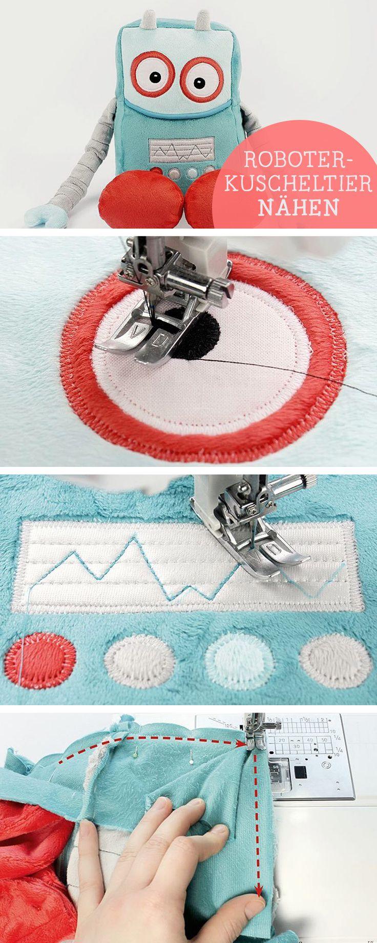 Nähanleitung für Kinder: Kuscheligen Roboter nähen, selbermachen / sewing tutorial for kids: sew a cute and cuddly robot via DaWanda.com