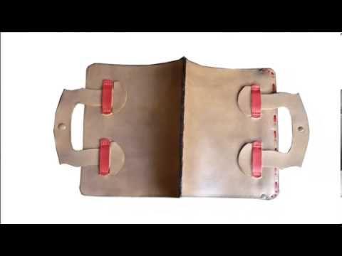 Δίχρωμη Χειροποίητη Δερμάτινη Θήκη-Τσάντα για iPad 4 Retina