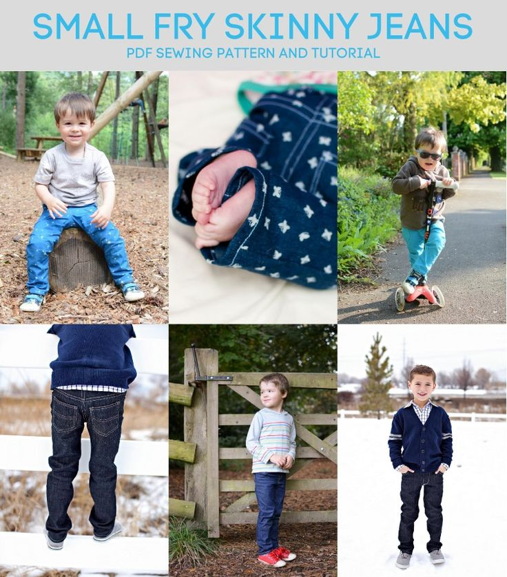 Small Fry Skinny Jeans pdf sewing pattern. Available in sizes from 0-3 months up to age 12.