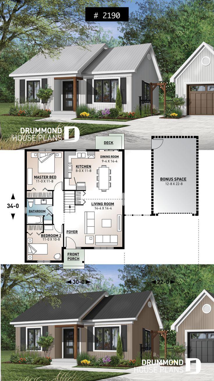 2 große Schlafzimmer, kleiner und einfacher Hausplan im Übergangsstil, sehr geringe Baukosten, offener Raum #klein #whitefarmhouse #whiteexterior #ranch #bungalow #houseplan #homeplan #homedesign #architectural #plan