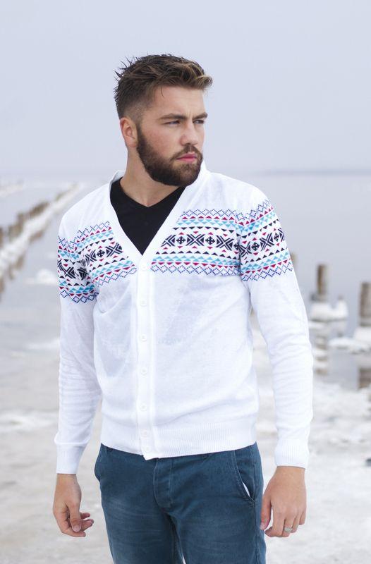 Модный, стильный белый мужской джемпер:http://modashop7.ru!