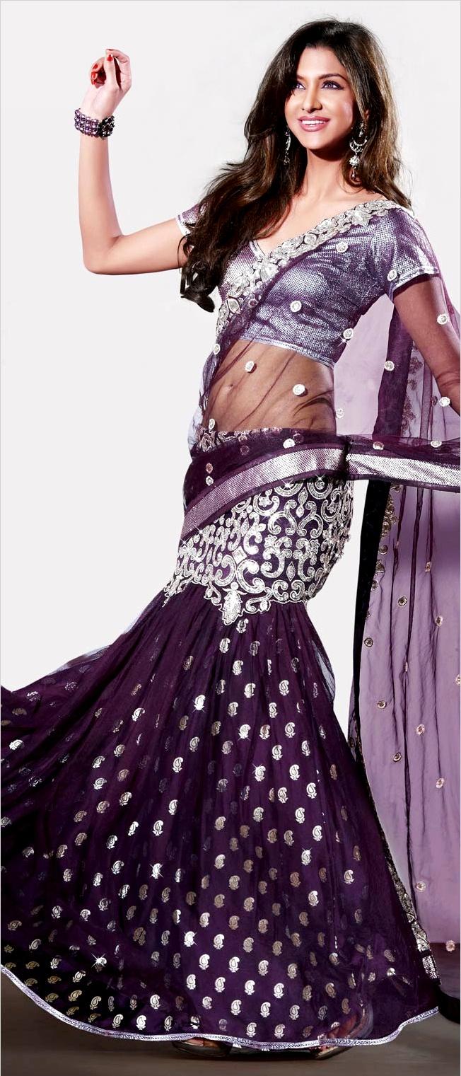 Sarees, purple saree, net saree, lehenga style saree, best seller @utsavfashion | $96.52
