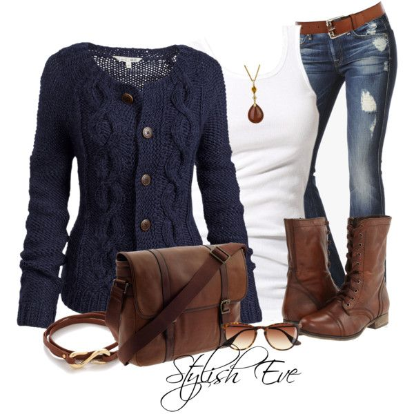 Navy cardigan, white tank, holy jeans,  & brown boots...