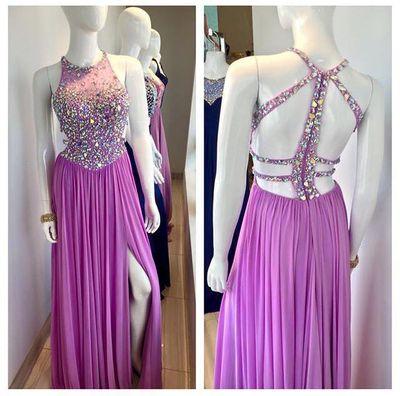 O Neck Unique Design Back Heavy Beaded Sexy Long Chiffon Crystal Purple Evening Dresses, Side Slit Long Party Dresses XP10