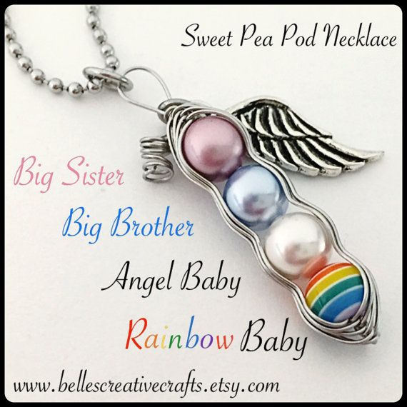 Rainbow Baby And Angel Baby Sweet Peas Necklace