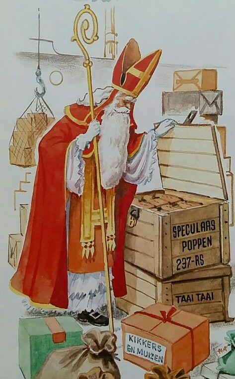 Sinterklaas kijkt naar al het lekkers, speculaaspoppen... https://www.pinterest.com/Notitieonline/sinterklaas/