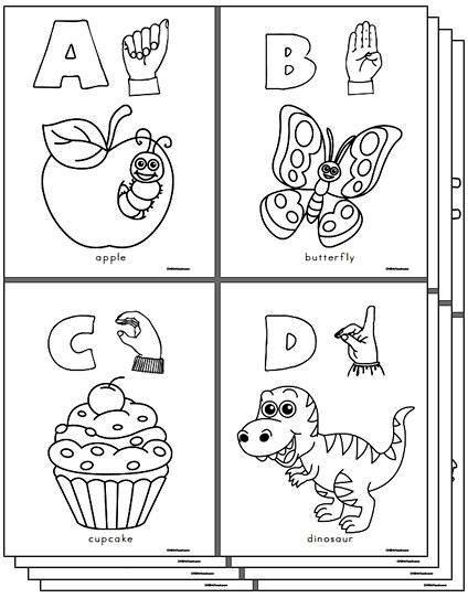 CHSH - ASL American Sign Language Teacher Resources and Worksheets  A-Z Coloring Pages!
