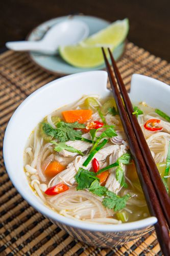 Tom Yum Gai 2 cups chicken broth 2 cups water 2 shallots, sliced thinly 2 stalks lemongrass, sliced thinly 4 kaffir lime leaves, sliced thinly 2 birds eye chilis, thinly sliced 1 inch piece galangal or ginger, sliced thinly 1/2 pound chicken breast 2 tablespoons lime juice 1 tablespoon fish sauce 1 teaspoon palm or brown sugar cilantro to taste