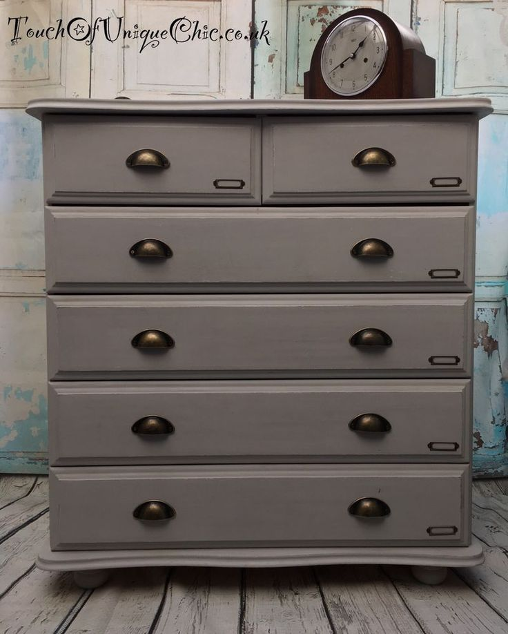 Painted Pine Grey Chest Of Drawers Industrial Chic Delivery Available   | eBay