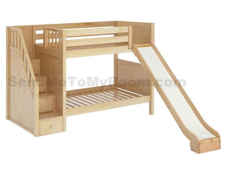 Stellar Medium Bunk Bed With Slide And Staircase Boys
