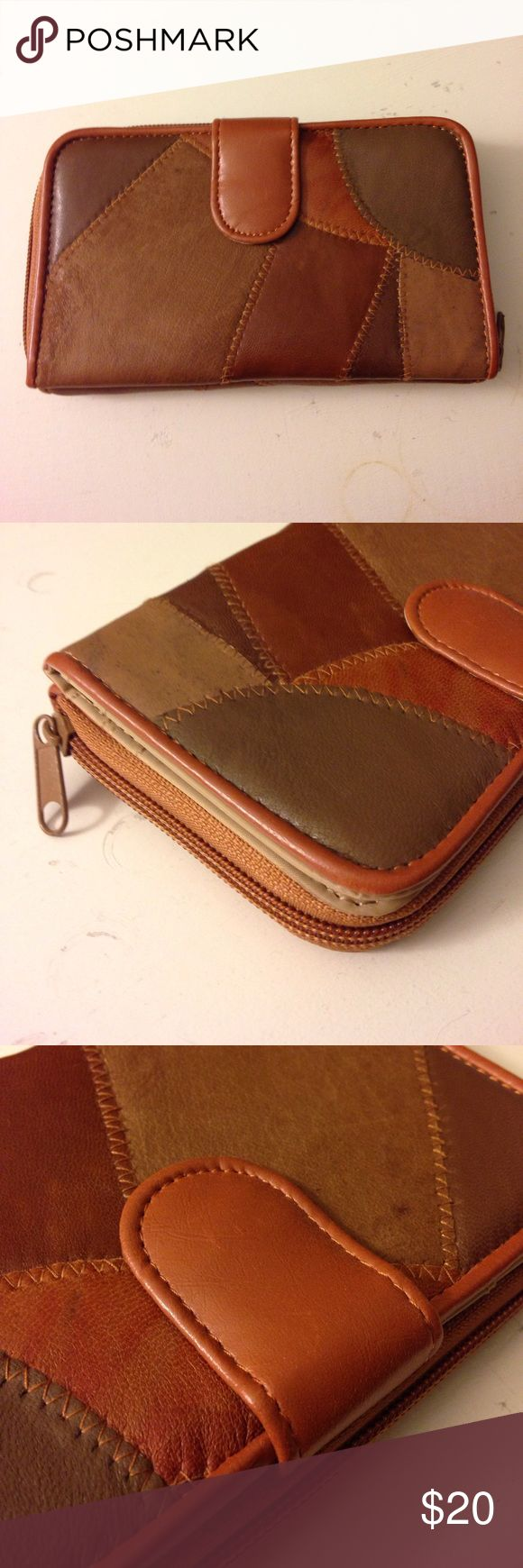 """Patches Wallet Never worn - like brand new. Many slots. Coin zipper. Two sides inside - one with snap button closure and other one is zipper as closure. Many different colors of brown. Measurement: 7"""" x 4"""" jcpenney Bags Wallets"""