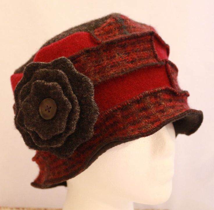 100% Wool Recycled Sweaters Vintage Pieced Lined Cloche Hat Red & Black Plaid with Flower Pin by HandmadebyLaureen on Etsy