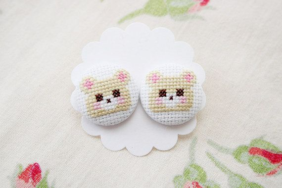 Cross stitched bear earrings