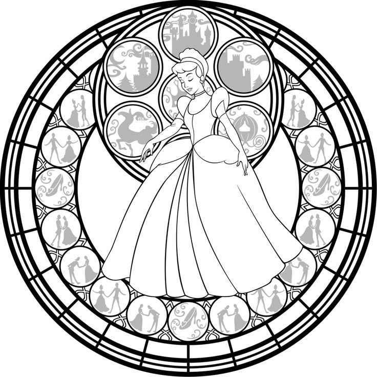 cinderella stained glass vector line art by akili amethystdeviantartcom on adult coloring pagescolouring