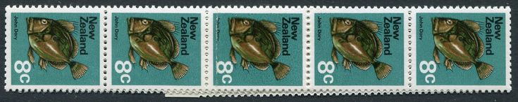 NZ Error 1970 Picts 8c John Dory Fish, Rare double paper reel join, seldom seen, strip 10, ex Parkinson #Stamps #Airmail #MADonC