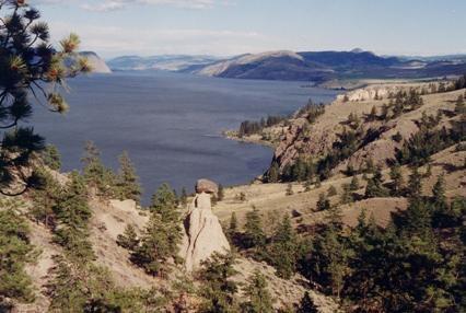 balancing rock, looking at Kamloops Lake